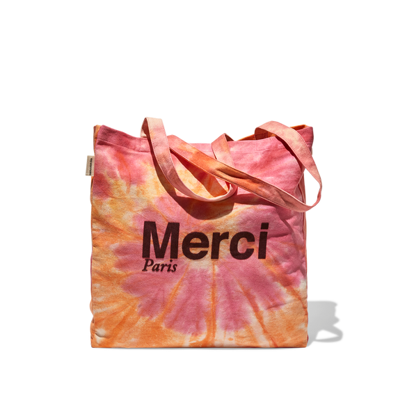 Tote Bag Merci en coton - Rose Tie and Dye