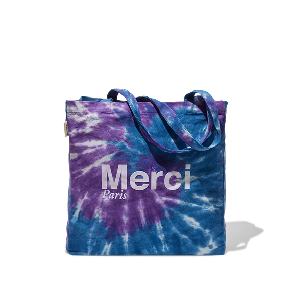 Tote Bag Merci en coton - Violet Tie and Dye