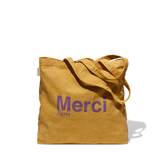 Tote Bag Merci en coton - Moutarde