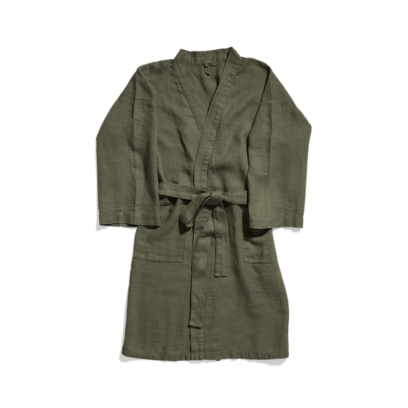 Washed linen bathrobe