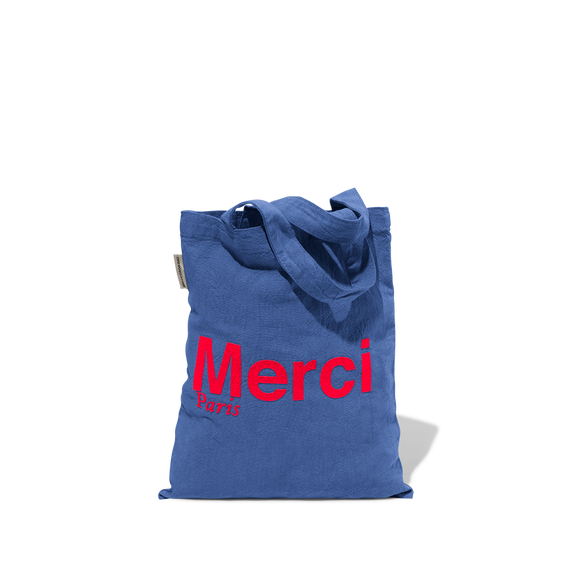 Mini Tote bag Merci en coton - Bleu