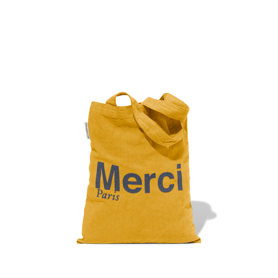 Mini Tote Bag Merci en coton - Jaune