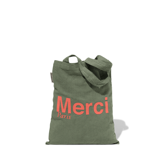 Mini Tote Bag Merci en coton - Kaki