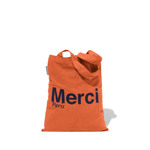 Mini Tote Bag Merci en coton - Orange
