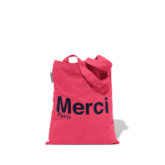 Mini Tote Bag Merci en coton - Rose