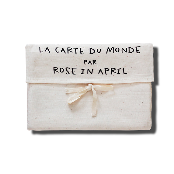 Carte du monde en coton - Rose in April