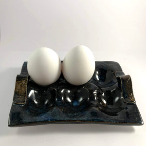Tray For 6 Eggs Cloud Blue Brown Shadows