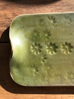 Tray for Cheese and Tapas, Forest Green with Flower Stamps