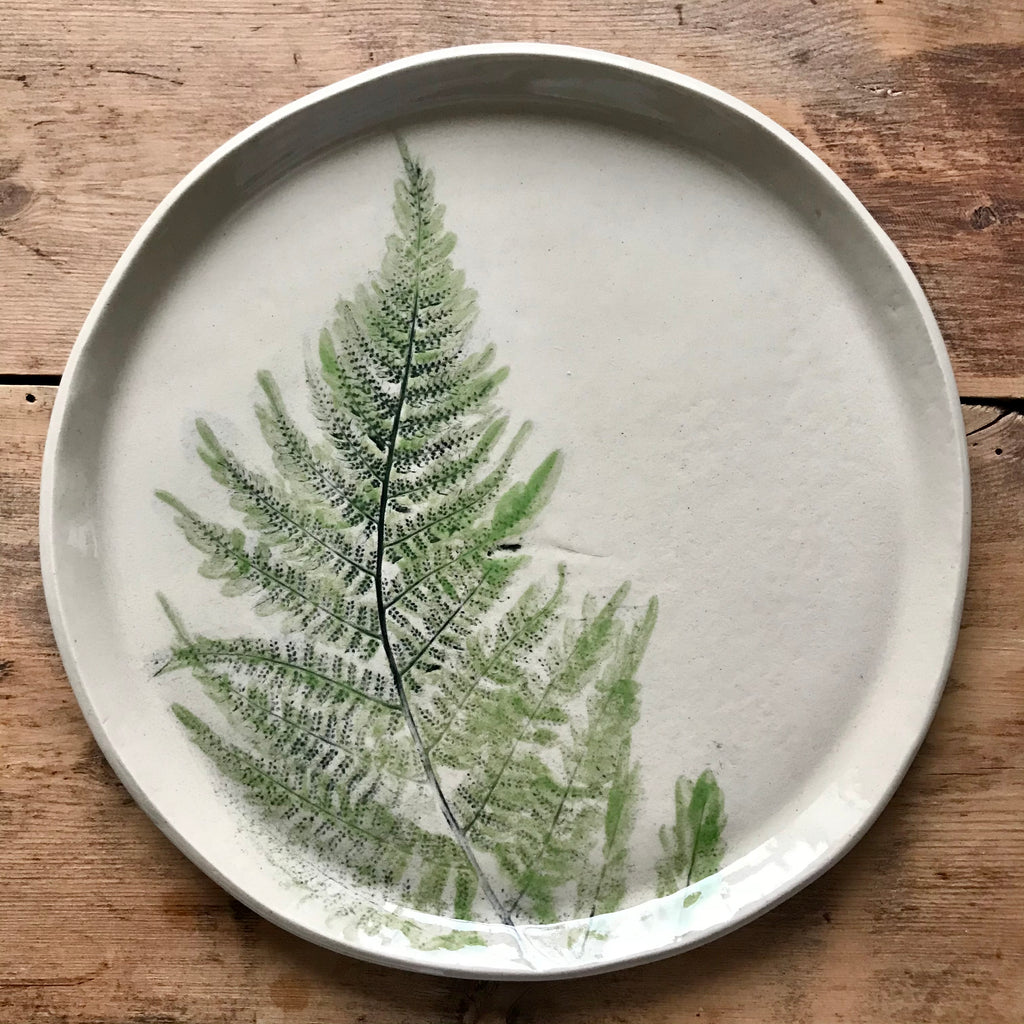 Plate With Green Fern, 19 cm