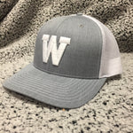 Eagles-Heather Grey With White Mesh Snapback Cap - White W