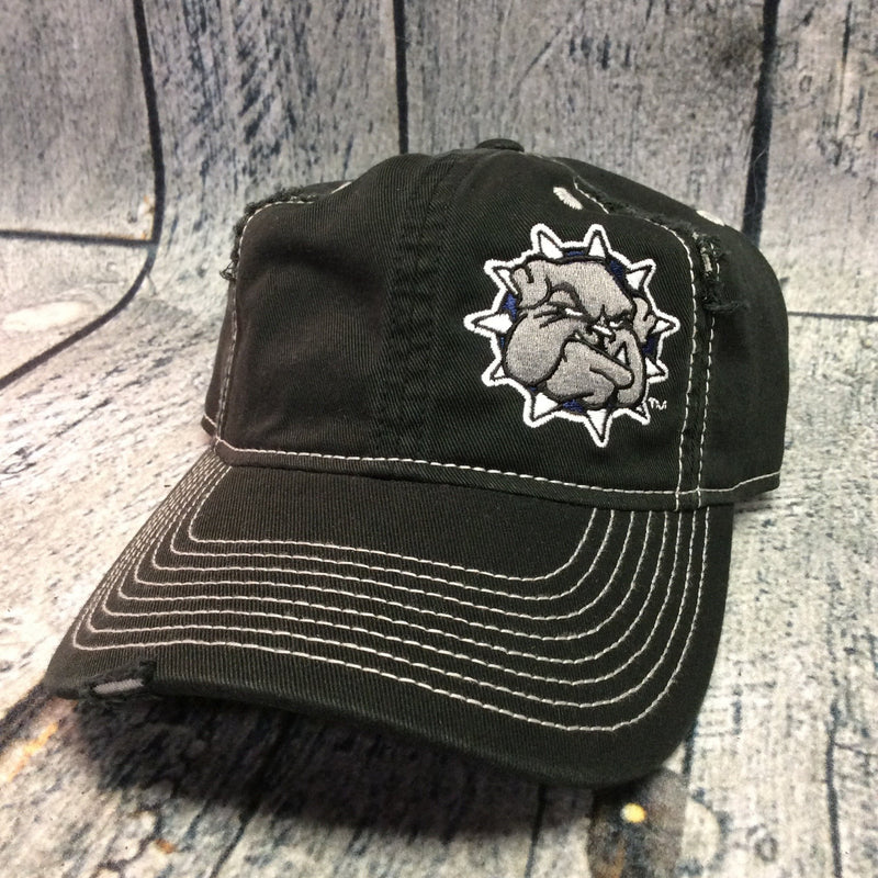 SWOSU - Black And White Distressed Adjustable Cap - Bulldog