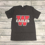Eagles - Dark Heather Grey Distressed W - Short Sleeve Tee