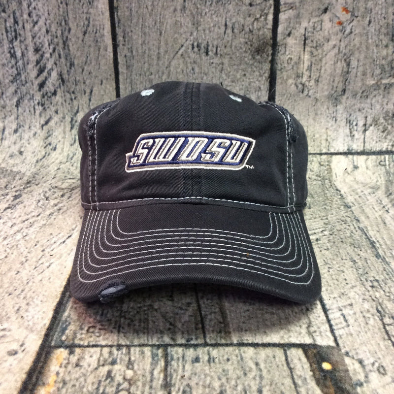 SWOSU - Navy And Light Blue Distressed Adjustable Cap