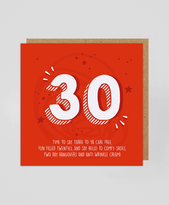 30th - Greetings Card