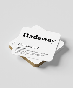 Hadaway - Geordie Dialect Coaster (White)