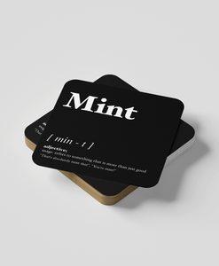 Mint - Geordie Dialect Coaster (Black)