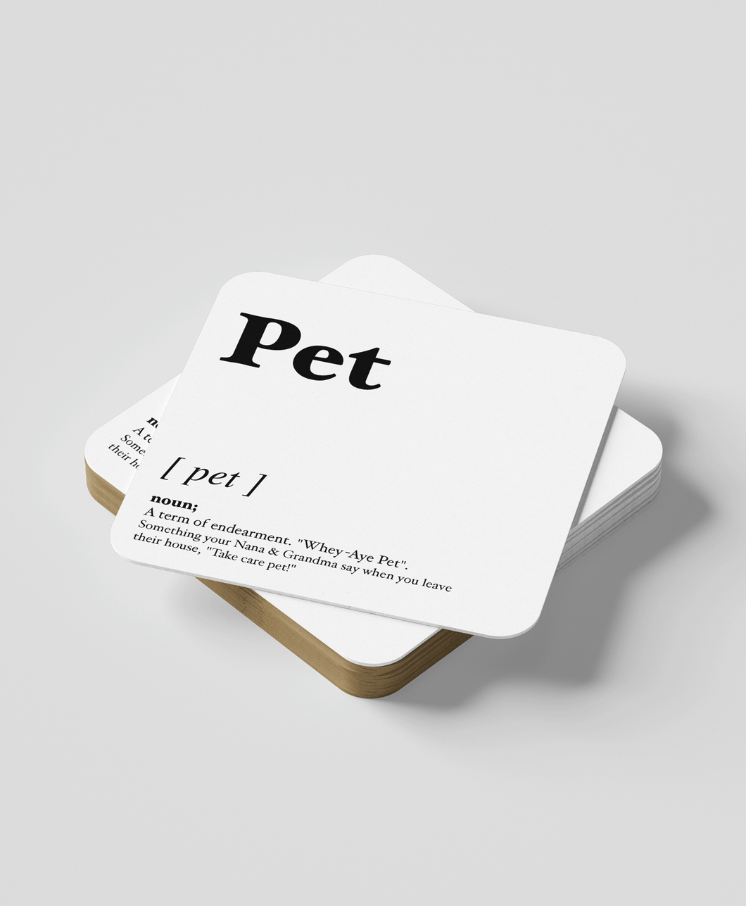 Pet - Geordie Dialect Coaster (White)