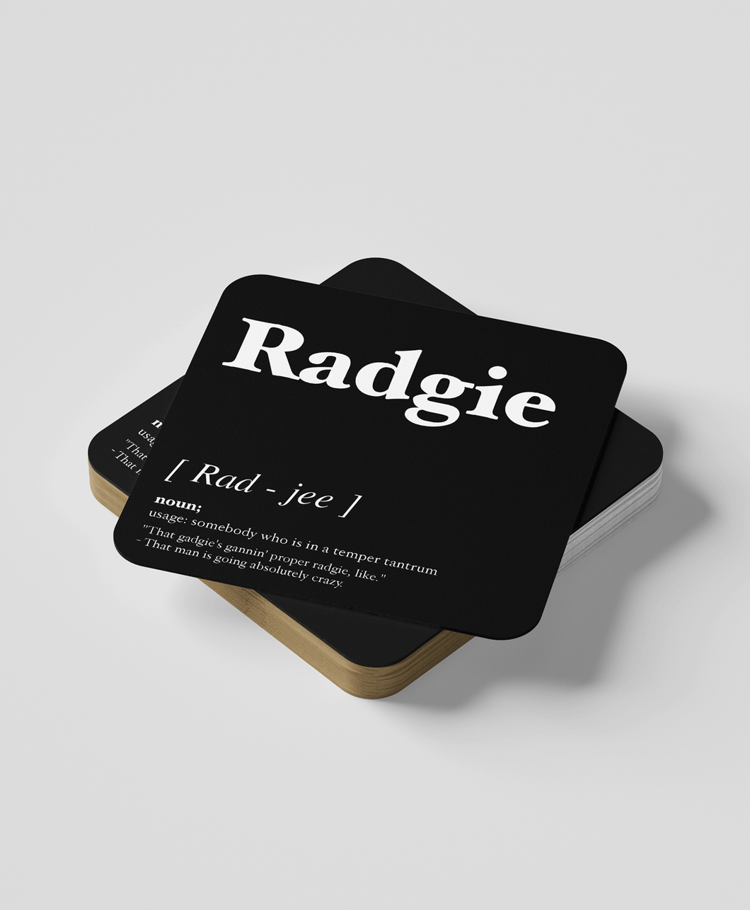 Radgie - Geordie Dialect Coaster (Black)