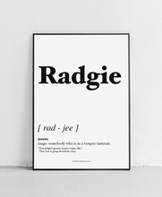 Load image into Gallery viewer, Radgie - Geordie Dictionary Print