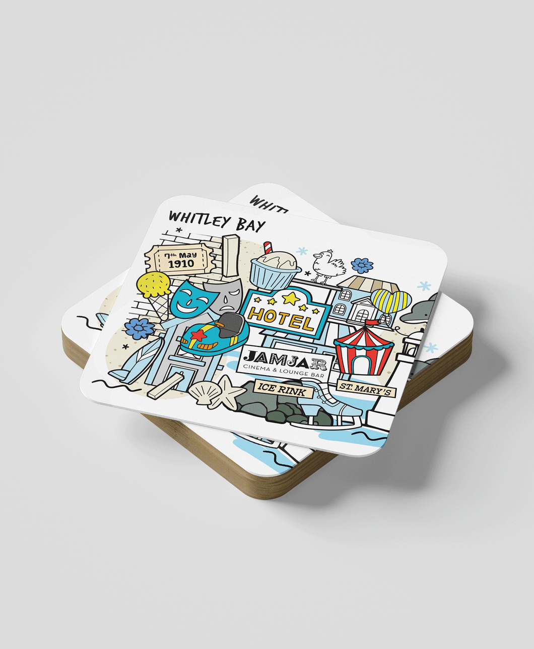 Whitley Bay (set of 2) - Coasters