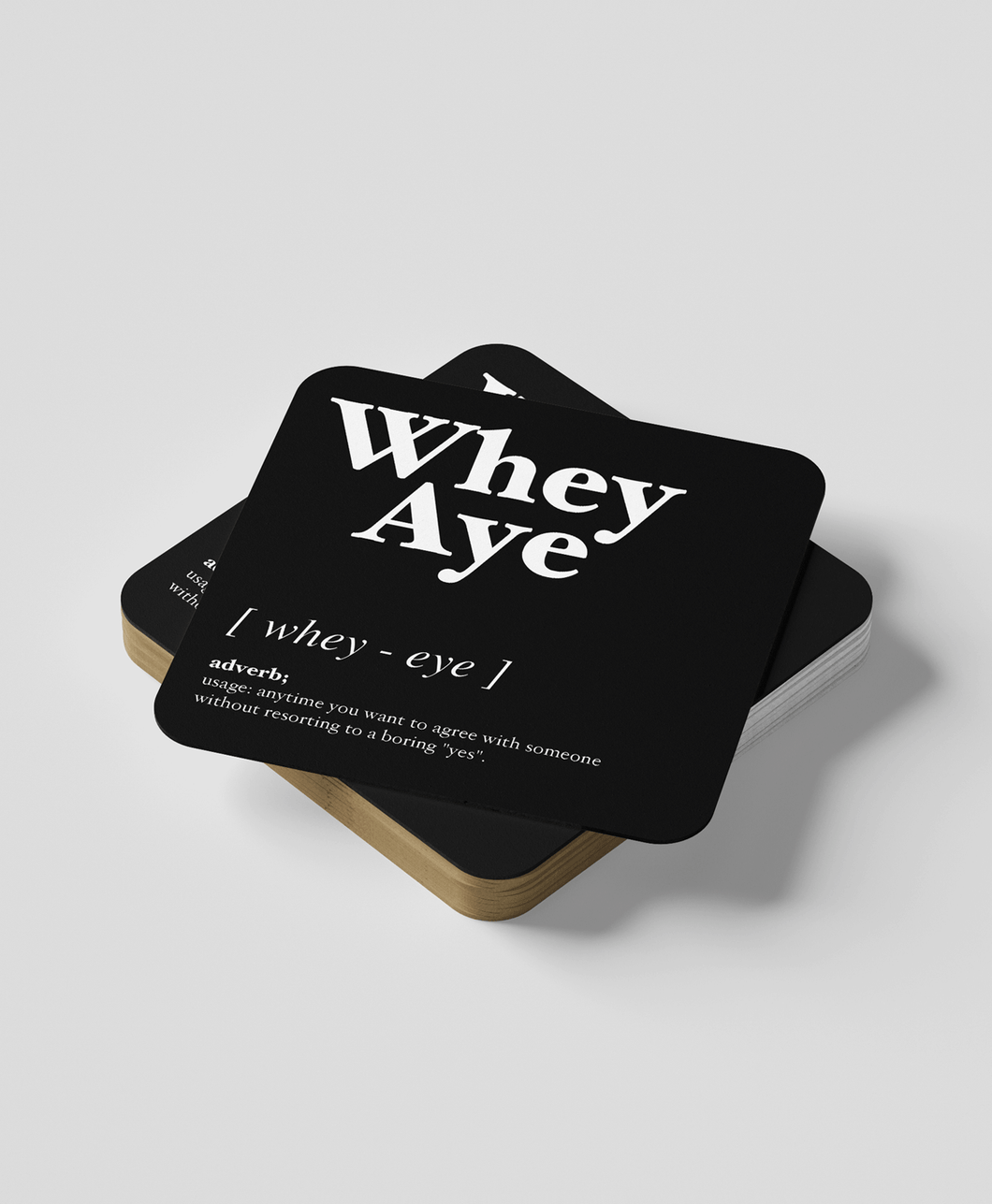 Whey Aye - Geordie Dialect Coaster (Black)