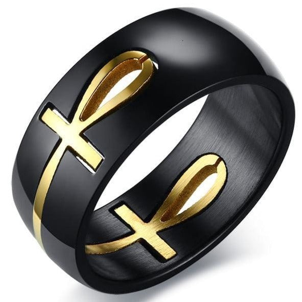 EGYPTIAN RING - Golden Ankh Cross