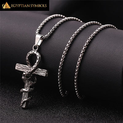 Vintage Egyptian Cross Necklace - Snake