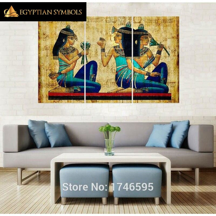 Egyptian Triptych Painting