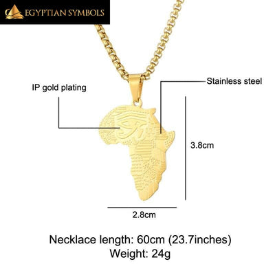 Ankh Pendant Africa Map Necklace