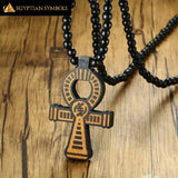 Wooden Ankh Cross Necklace