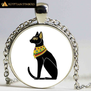EGYPTIAN CAT GODS PENDANT - ALLOY AND GLASS