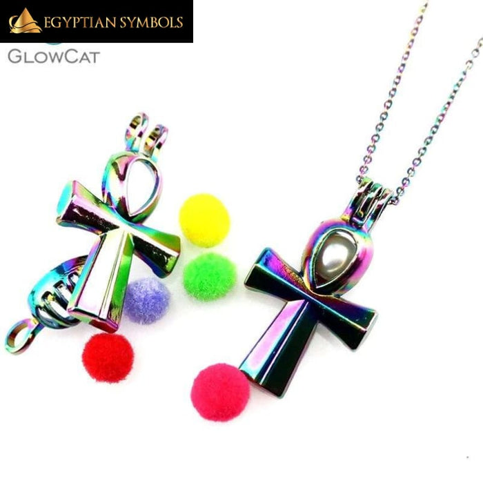 Egyptian Ankh rainbow necklace