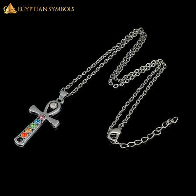 Retro 7 Crystal Egyptian Cross Necklace