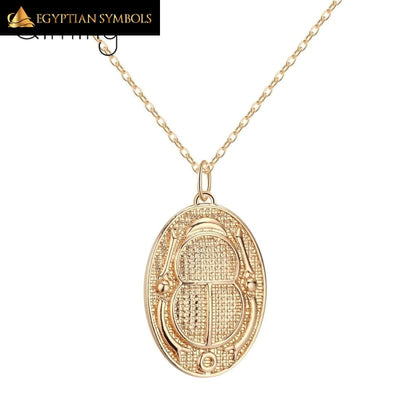 Gold and silver plated Egyptian Beetle Necklace