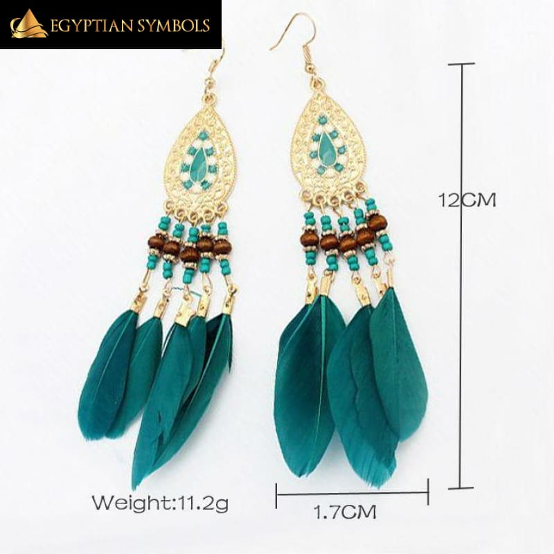 EGYPTIAN FEATHERED EARRINGS