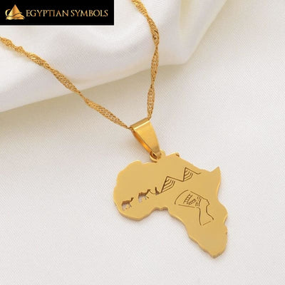 Africa Map With Egyptian Queen Nefertiti Necklace