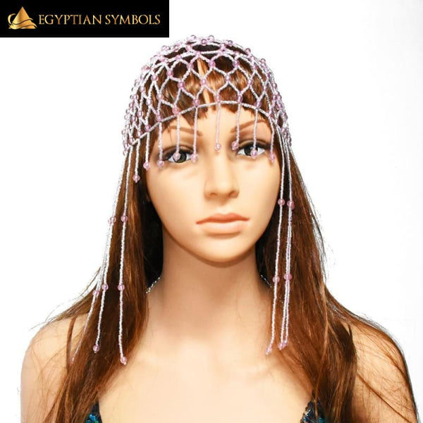 EGYPTIAN CLEOPATRA HEAD CAP – HAND-WOVEN RICE BEADS HAT