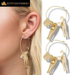 Egyptian Bastet Gold Earrings