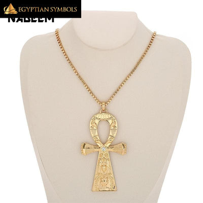 Engraving Ankh Cross Necklace