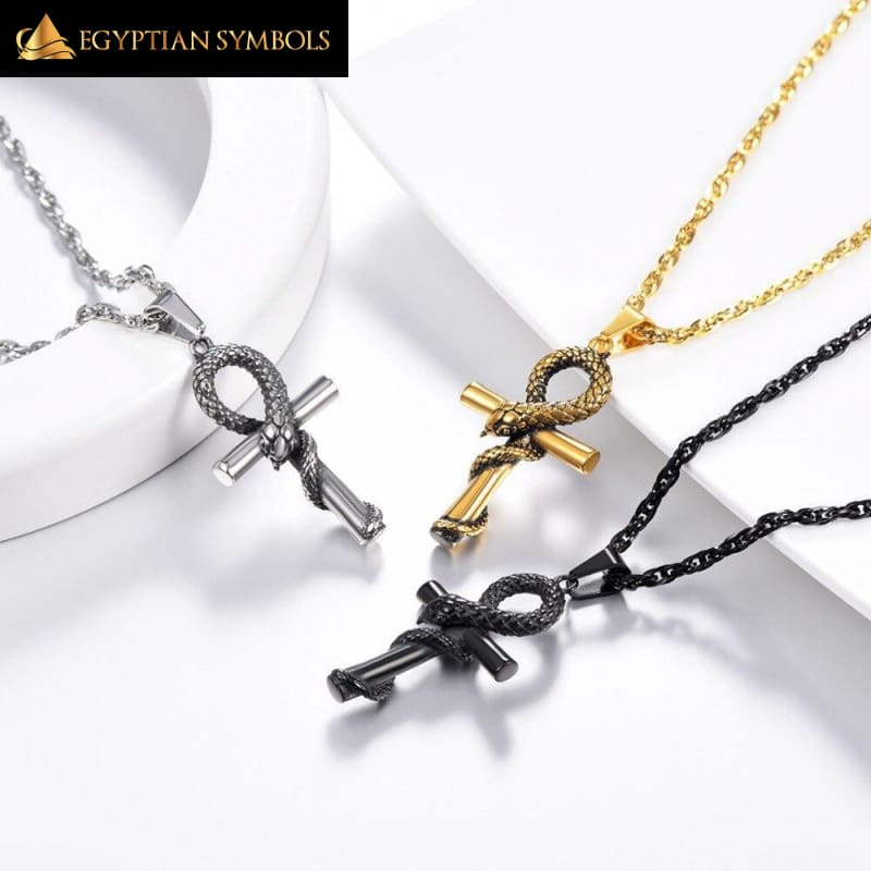 Ankh Cross Snake Necklace