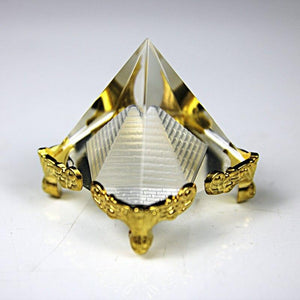 Crystal Pyramid With Gold Stand