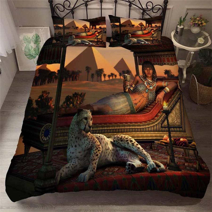 EGYPTIAN BED SET - GODDESS AND HER TIGER