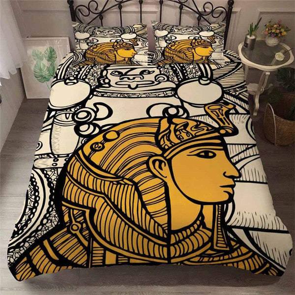 EGYPTIAN BED SET IN WHITE AND YELLOW