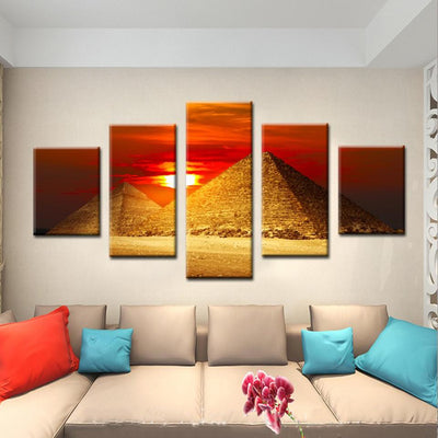 Egyptian Painting - sunset pyramid