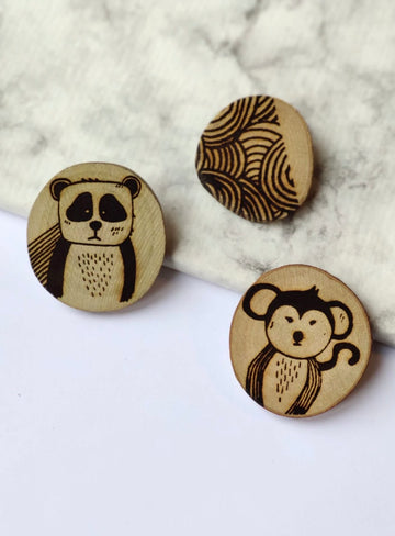 Gleebee - Collection Woodland - Set de broches PANDA & MONKEY