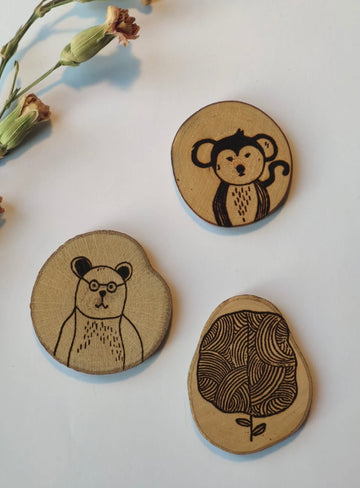 Gleebee - Collection Woodland - Set de broches BEAR, MONKEY & TREE