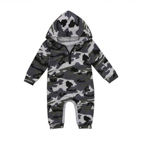 Image of Boys Camouflage Printed Zipper Romper