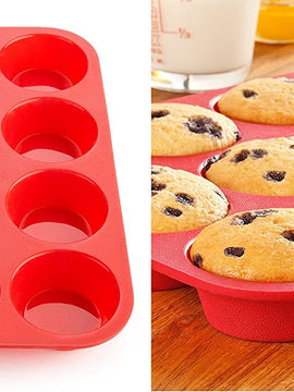 1 PC) Silicone Cupcake Mould 12 Non Stick Reusable Muffin Baking Tray Pan
