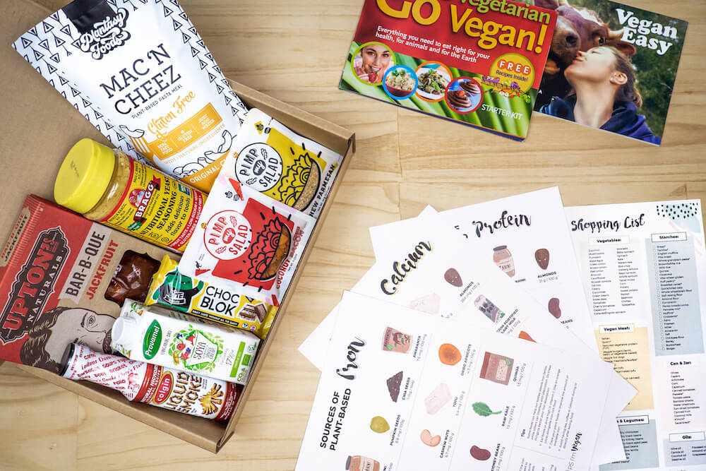 Vegan starter kit with everything a beginner vegan needs including free vegan nutrition posters and booklets