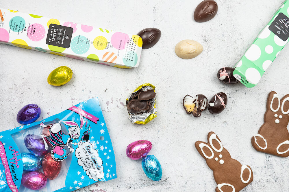 Vegan Easter Hamper with vegan creme eggs, minim vegan Easter eggs and mixed vegan chocolate bunnies for the Best Vegan Hampers post